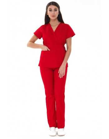"Costum Medical ""PARTE PESTE PARTE"" Rosu"