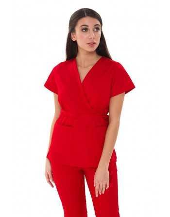 """Costum Medical """"PARTE PESTE PARTE"""" Rosu"""