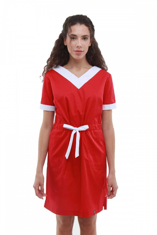 """Sarafan Medical """"V"""" Roșu-Alb"""