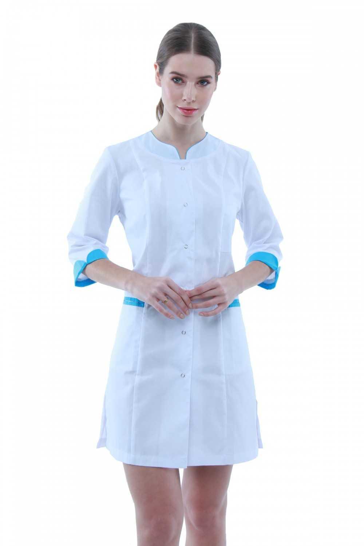 Halat Medical 131Alb-Albastru